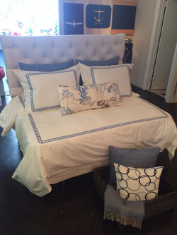 Chain embroidered bed linens