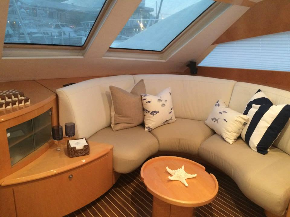 Accent pillows for sailing catamaran