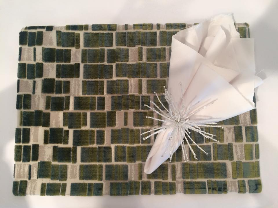 Custom made green velvet placemats