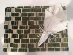 Custom made green velvet placemats