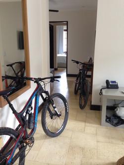 A mountain biker's room