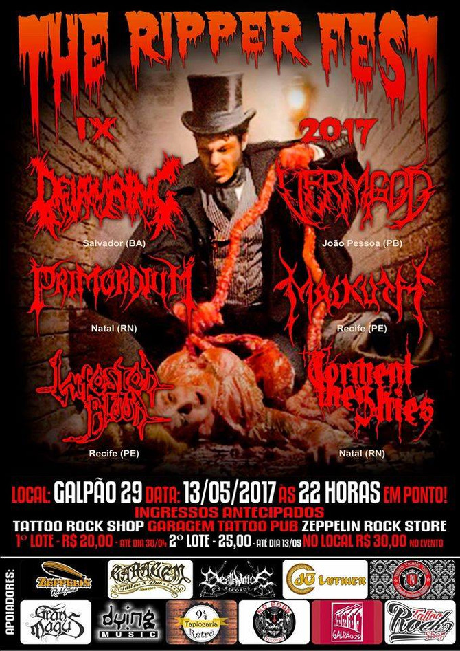 IX THE RIPPER FEST - Malkuth (PE), Infested Blood (PE), Devouring (BA), Vermgod (PB), Primordium (RN