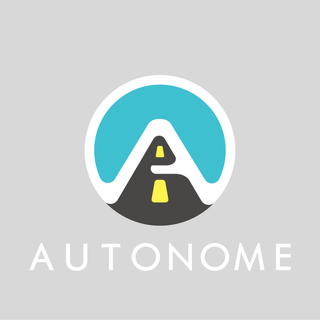 """A selection from a 30 day logo challenge. This was a for an autonomous driving company.   I used softer edges to mimic a futurisitc steering wheel while also putting the logo """"on the road""""."""