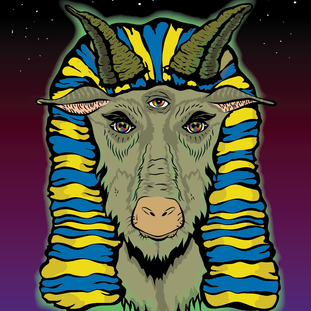 A shirt design for a local rapper, Be. He wanted a pharaoh space goat, so I gave him just that!