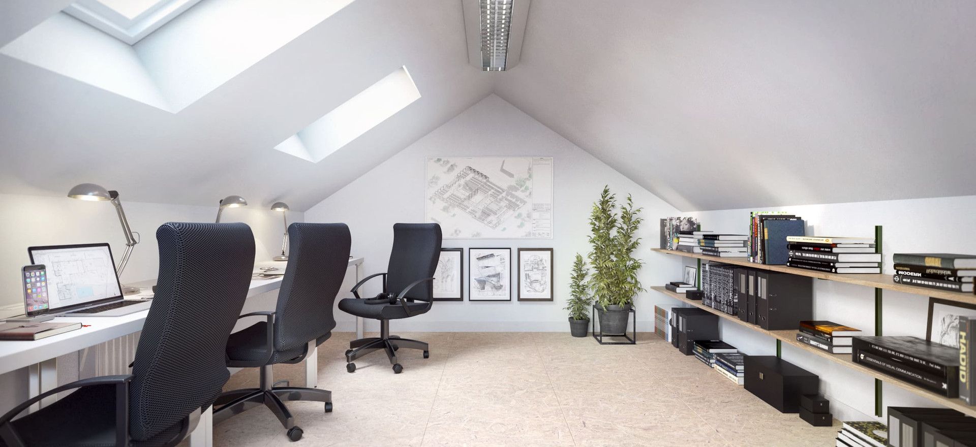 Vue bureaux combles - Darnetal - 2021