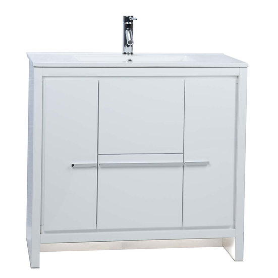 CBI Enna 36 Inch Modern Bathroom Vanity High Gloss White TN-LA900-HGW