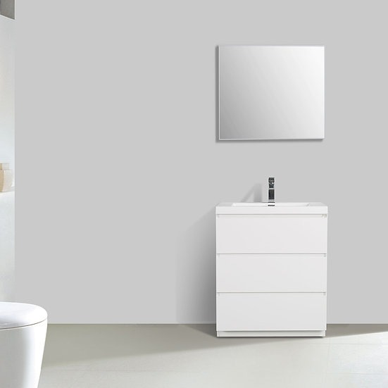 "Edison 29.5"" Single Bathroom Vanity Set in High Gloss White TN-ED750-HGW"