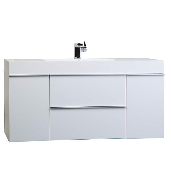 """47.25"""" Wall Mount Contemporary Bathroom Vanity Glossy White RS-R1200-HGW"""