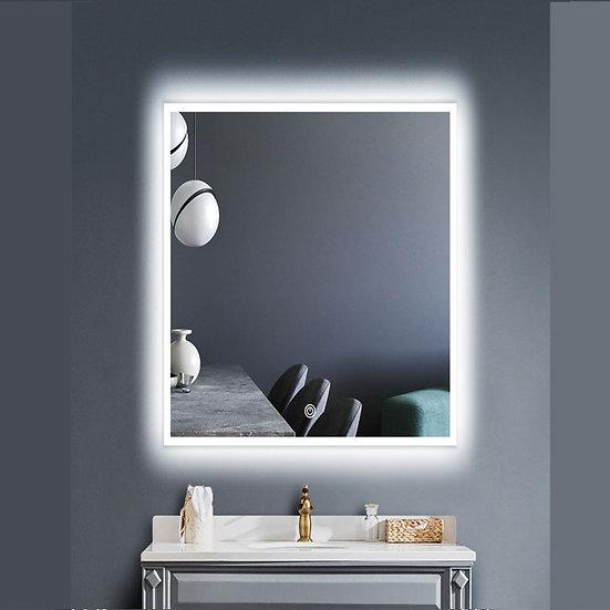 "30""W x 35.5""H LED Illuminated Bathroom / Vanity Wall Mirror w Defogger LAM-049B"