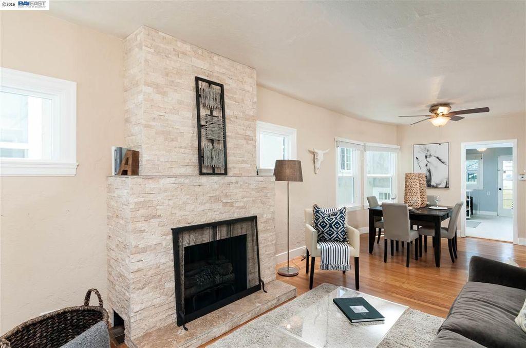 White Oak Split Face Ledger Fireplace