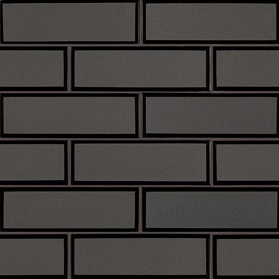 Glass Tile Metallic Gray Bevel Subway 8mm