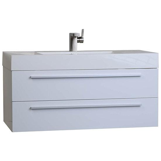 "39.25"" Wall-Mount Contemporary Bathroom Vanity High Gloss White TN-T1000-HGW"