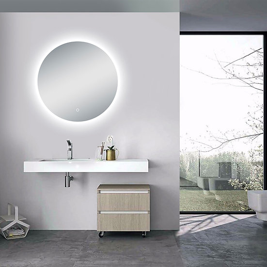 "24""D Circular LED Illuminated Bathroom / Vanity Wall Mirror w Defogger LAM-005"