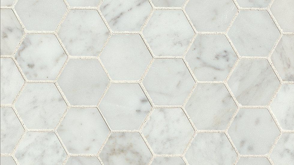 """White Carrara 2"""" x 2"""" Floor & Wall Mosaic"""