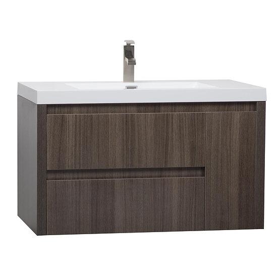"""35.25"""" Wall Mounted Modern Single Vanity Grey Oak TN-AS900-GO"""