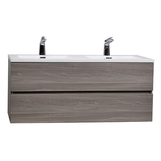 "Angela 47"" Wall-Mount Double Bathroom Vanity Maple Grey TN-AG1200D-MPG"