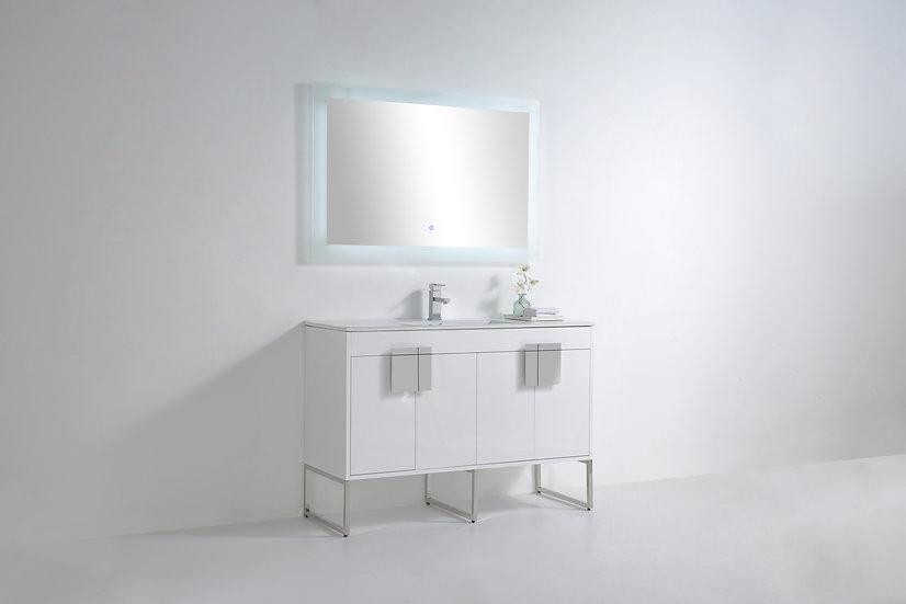 """Mars High Gloss White 48"""" Vanity"""