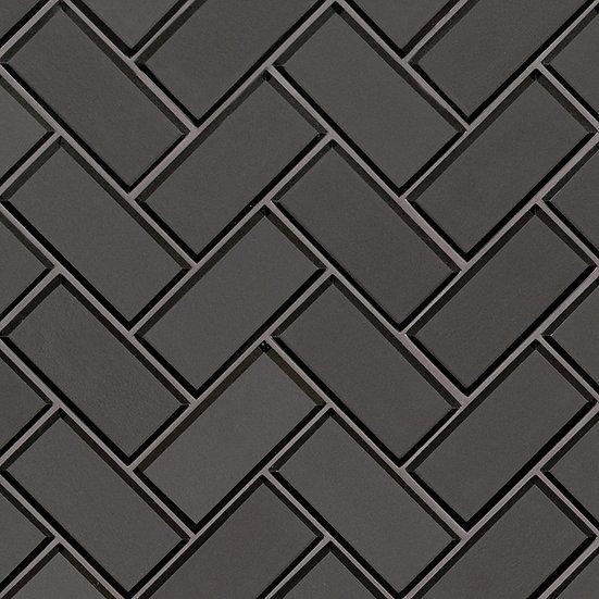 Glass Tile Metallic Gray Bevel Herringbone 8mm