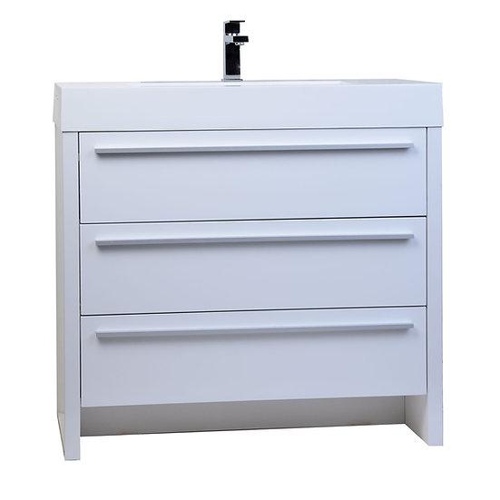 "Vinnce 35.5"" Modern Bathroom Vanity in Gloss White TN-LX900-HGW"