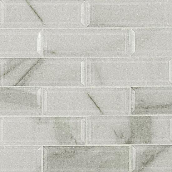 Glass Tile Ivory Amber Beveled Subway 8mm