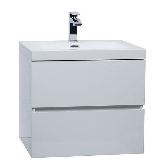 "Angela 23.5"" Wall-Mount Bathroom Vanity in High Gloss White TN-AG600-HGW"