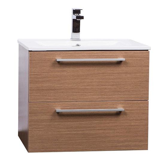 """Caen 24"""" Wall-Mounted Single Bathroom Vanity Set in Light Oak"""