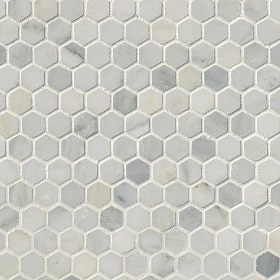 "Arabescato Carrara 1"" Hexagon Honed In 12x12 Mesh"