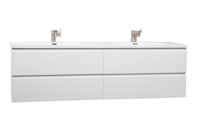 "Angela 71"" Contemporary Double Wall Mounted High Gloss White TN-AG1800-1-HGW"