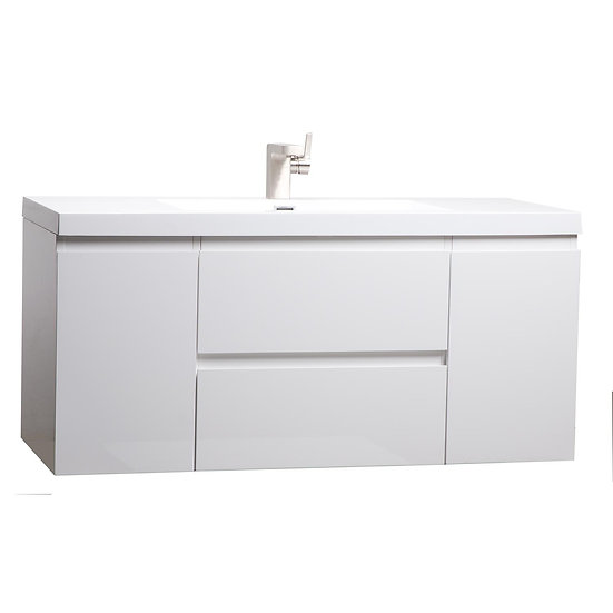 "47"" Angela Wall Mounted Modern Single Vanity High Gloss White TN-AG1200-HGW"