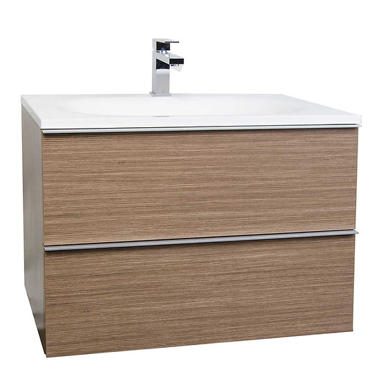 "29.5"" Wall-Mount Modern Bathroom Vanity Set Light Oak RS-R750-1-LOK"