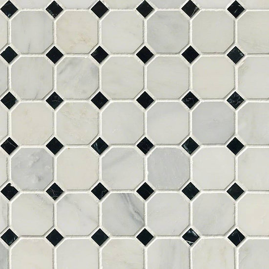 "Arabescato Cararra 2"" Octagon With Black And White 5/8x5/8 Honed In 12x12 Mesh"