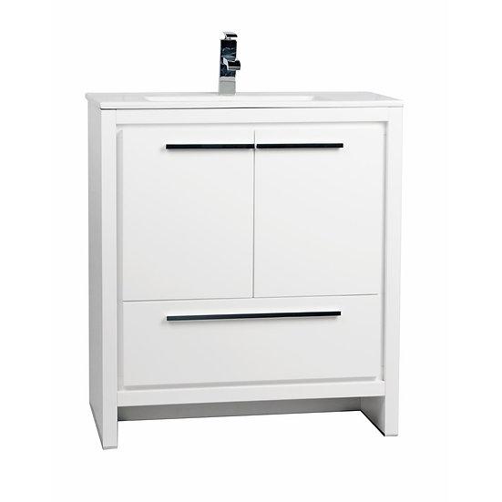 CBI Enna 30 Inch Glossy White Modern Bathroom Vanity TN-LA750-HGW