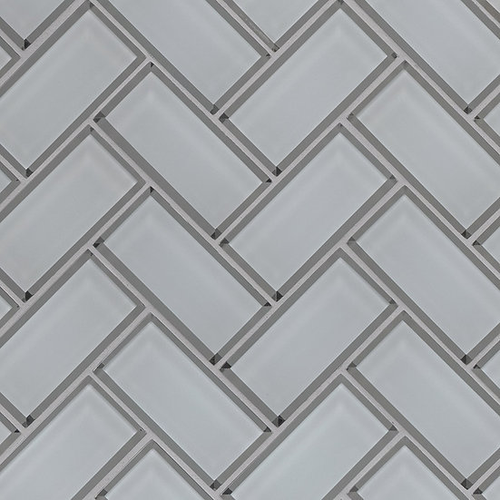 Glass Tile Ice Bevel Herringbone 8mm