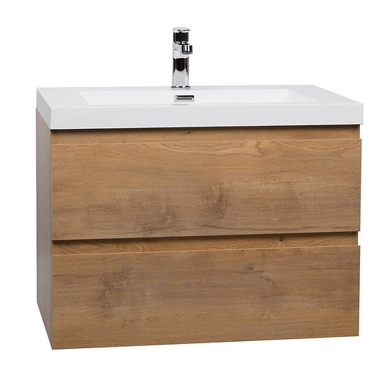 "Angela 29.5"" Wall-Mount Bathroom Vanity Natural Oak TN-AG750-NO"