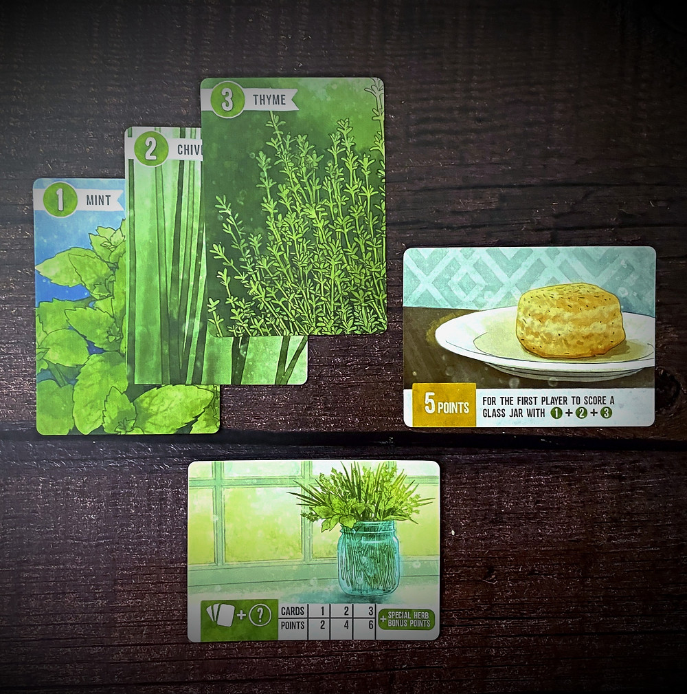 Herbaceous glass jar card and hers with herb biscuit card
