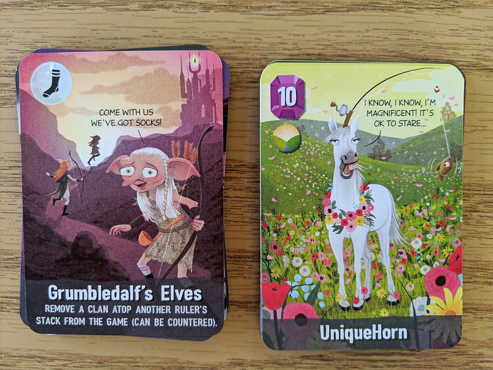 Examples of Grumbledalf's Elves and UniqueHorn Cards from Cover Your Kingdom