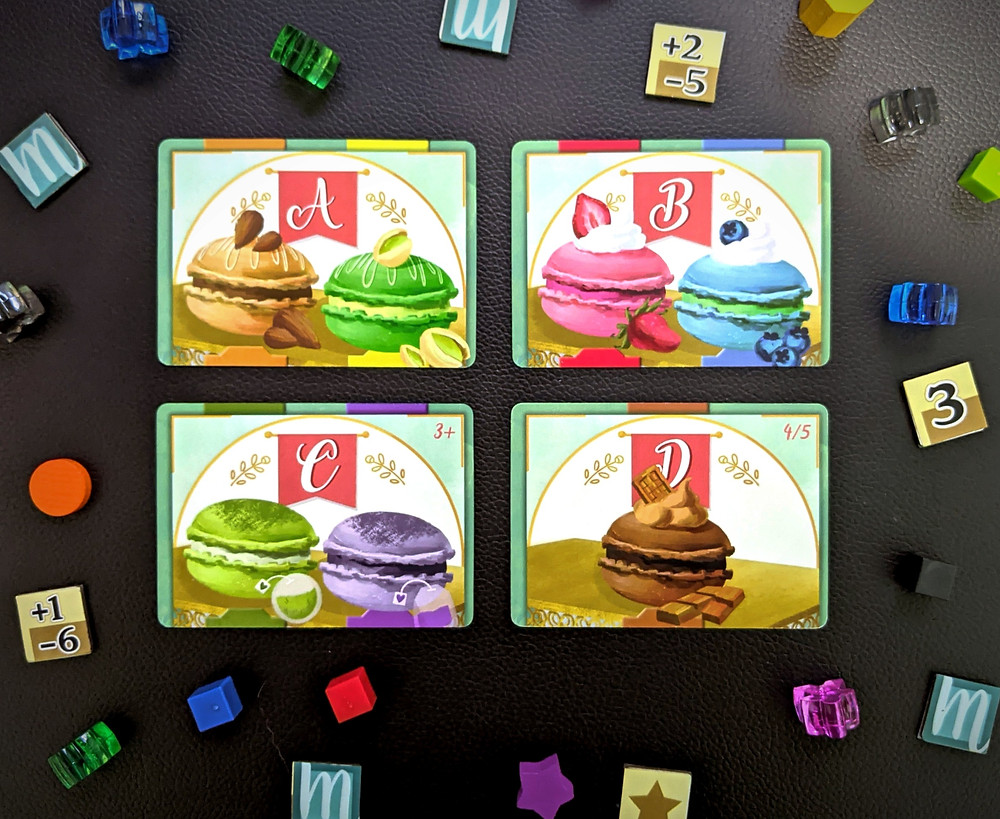 Macaron pieces and cards