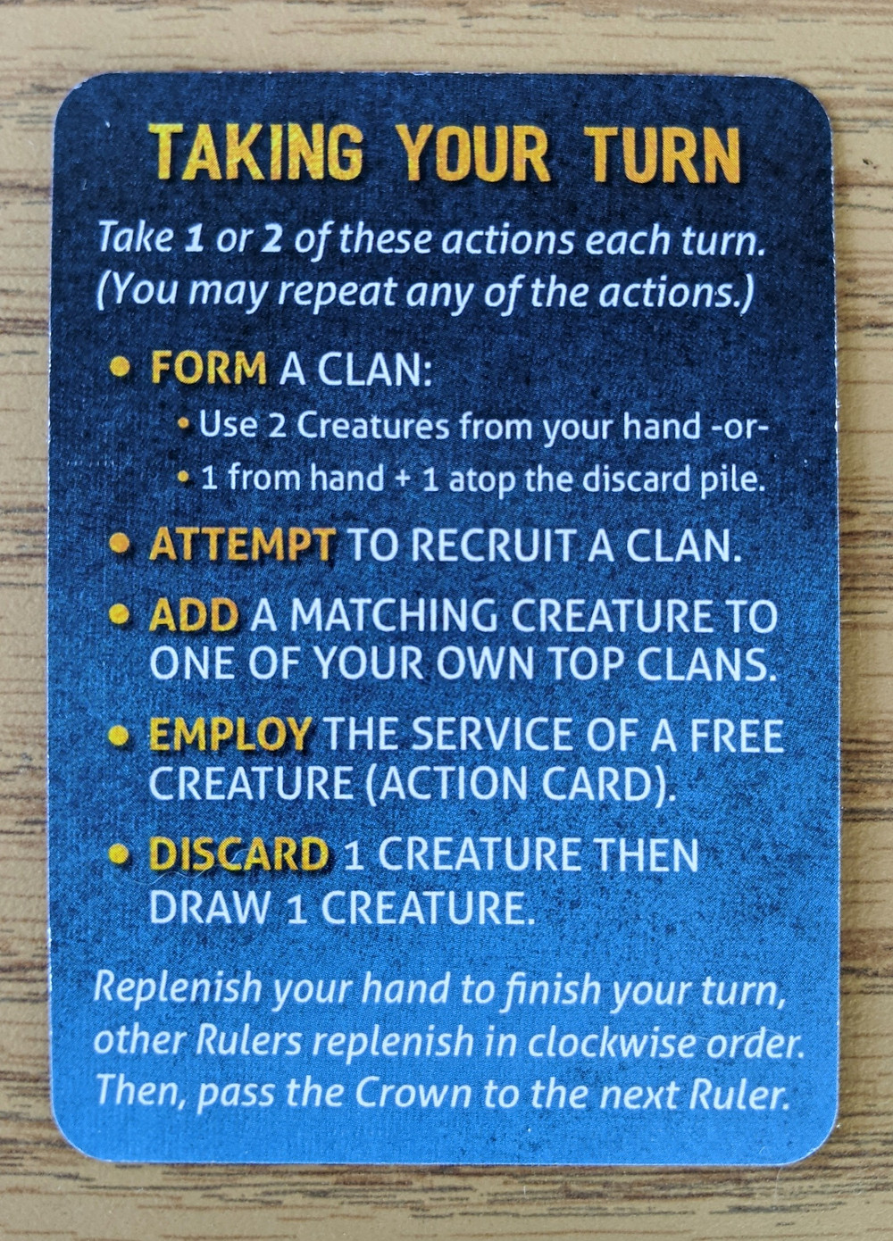 Rules Card for Cover Your Kingdom