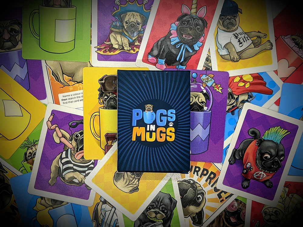 Pugs in Mugs Cards and Box Art