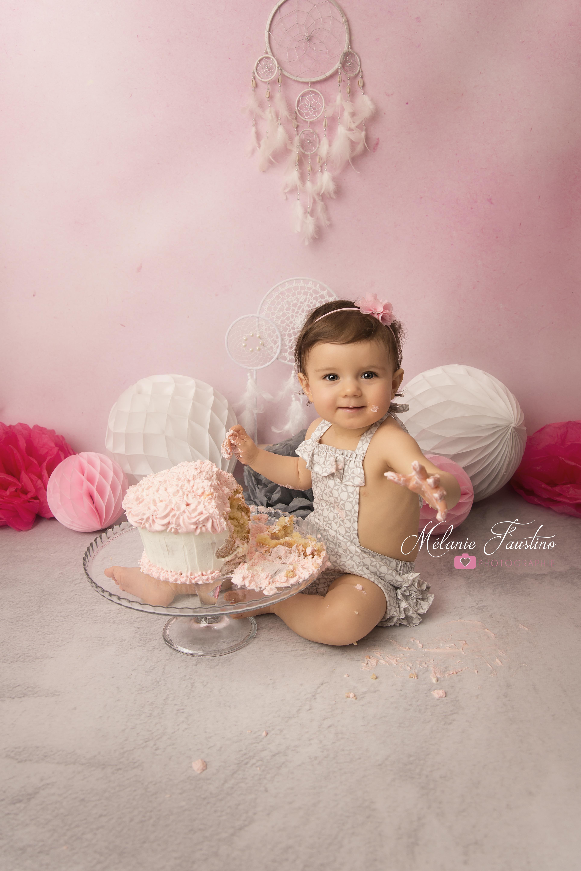 photo bébé fille smash the cake 75