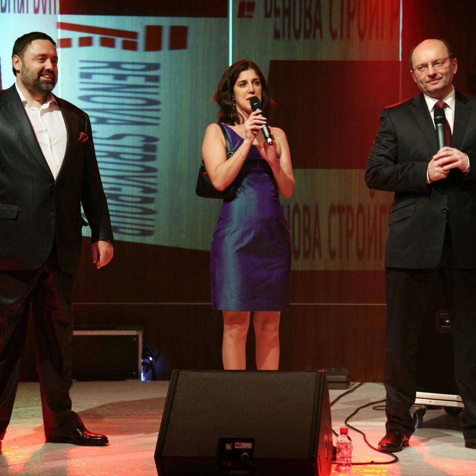 Veniamin Golubitsky, Président du RenovaStroyGroup group (Kortros), Emmanuelle Jézéquel, Directrice Générale de la société GSO + (organisatrice de la soirée) et Alexandre Misharine, Gouverneur de la Région de Ekaterinbourg