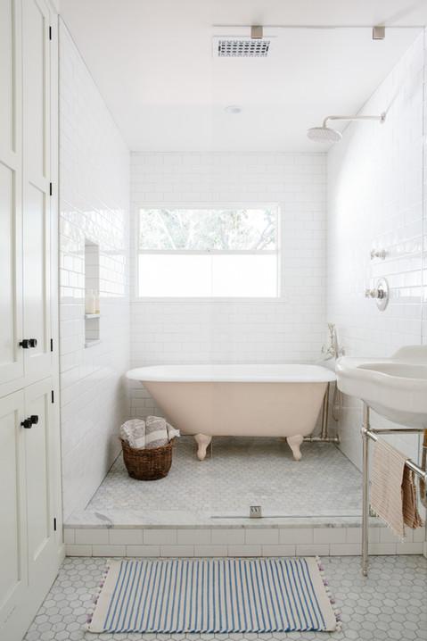 pink painted clawfoot bath tub kids bathroom by Lilly Walton Design Ojai, Ca