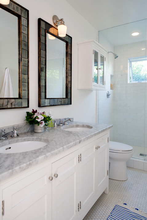 Small space master bath double sink vanity by Lilly Walton Design