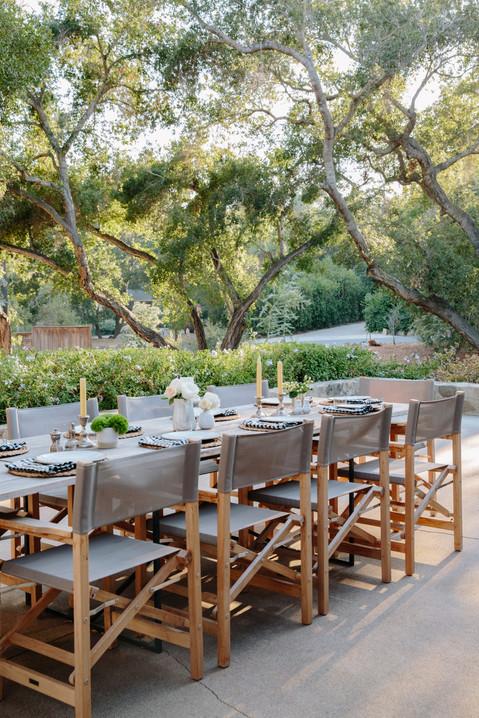 Ojai, Ca outdoor entertaining under the Oak trees by Lilly Walton Design