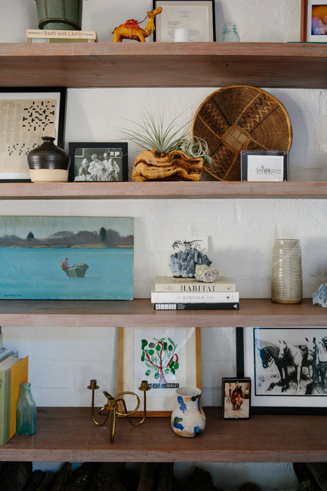 Living room shelfie in Ojai, CA by Interior designer Lilly Walton Design