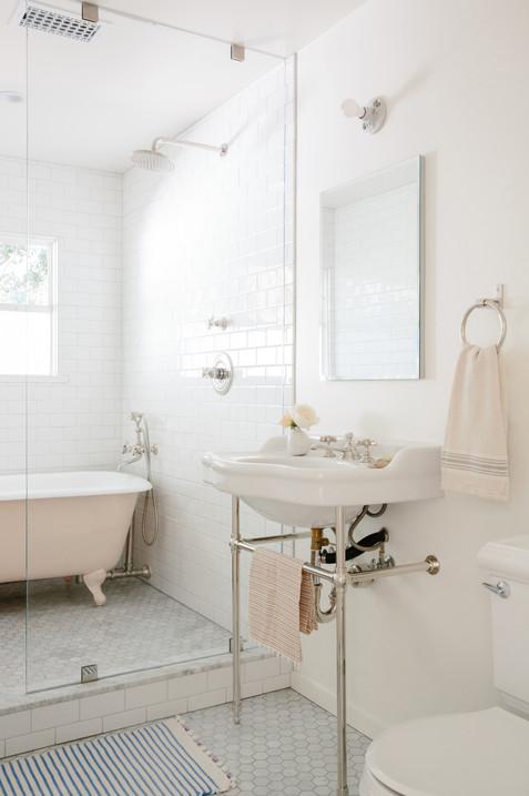 pink painted clawfoot bath tub kids bathroom pedestal sink by Lilly Walton Design Ojai, Ca
