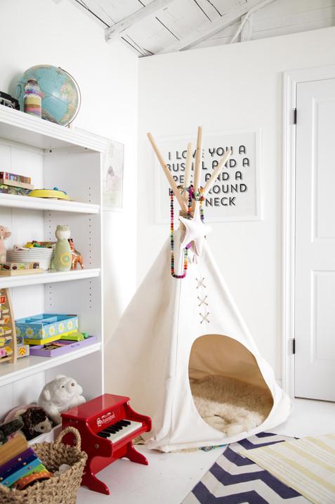 Light, bright and airy kids playroom by Lilly Walton Design Ojai, Ca
