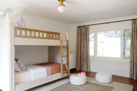 Kids bunk beds, vintage rug, girls shared room by Lilly Walton Design Ojai, Ca