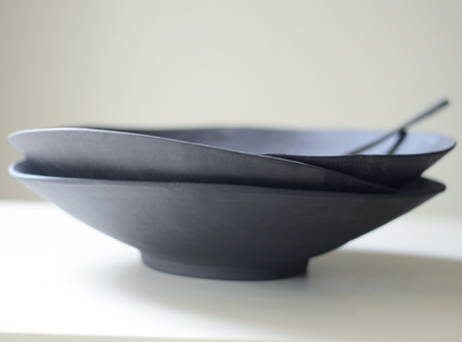 Black Ceramic Salad Bowl