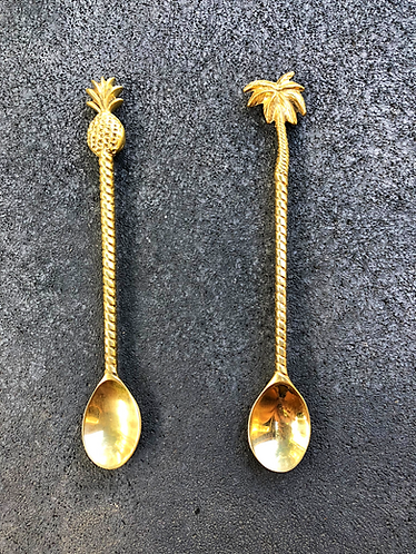 Pineapple and Palmtree teaspoons set of 2 (20cms)